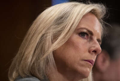 Homeland Security Secretary Kirstjen Nielsen listens during a hearing of the Senate Committee on Homeland Security & Governmental Affairs, on Capitol Hill, Wednesday, Oct. 10, 2018 in Washington. (AP Photo/Alex Brandon)
