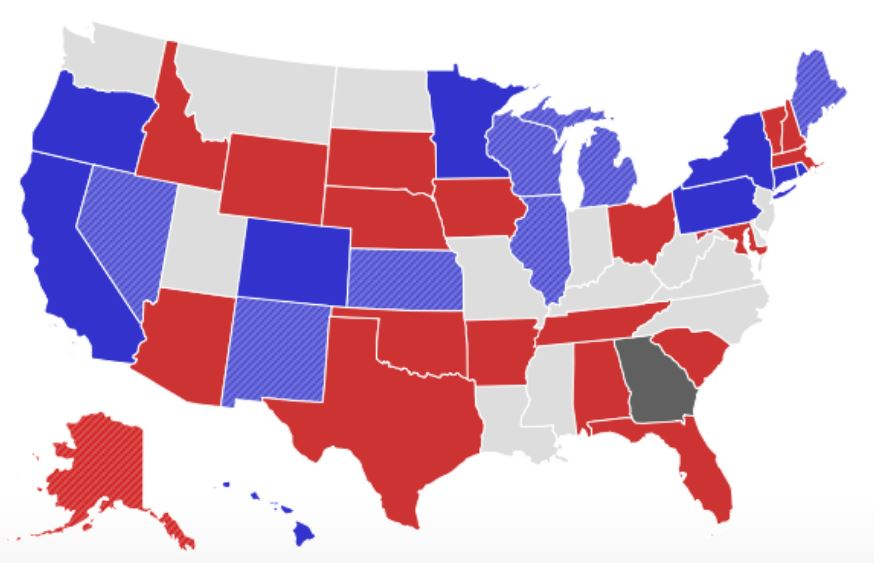 New Governors Likely Spell Major Changes Among State Cio Ranks - Us-governors-map