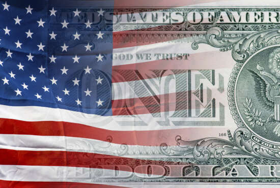 United states of America flag and American  one dollar money background