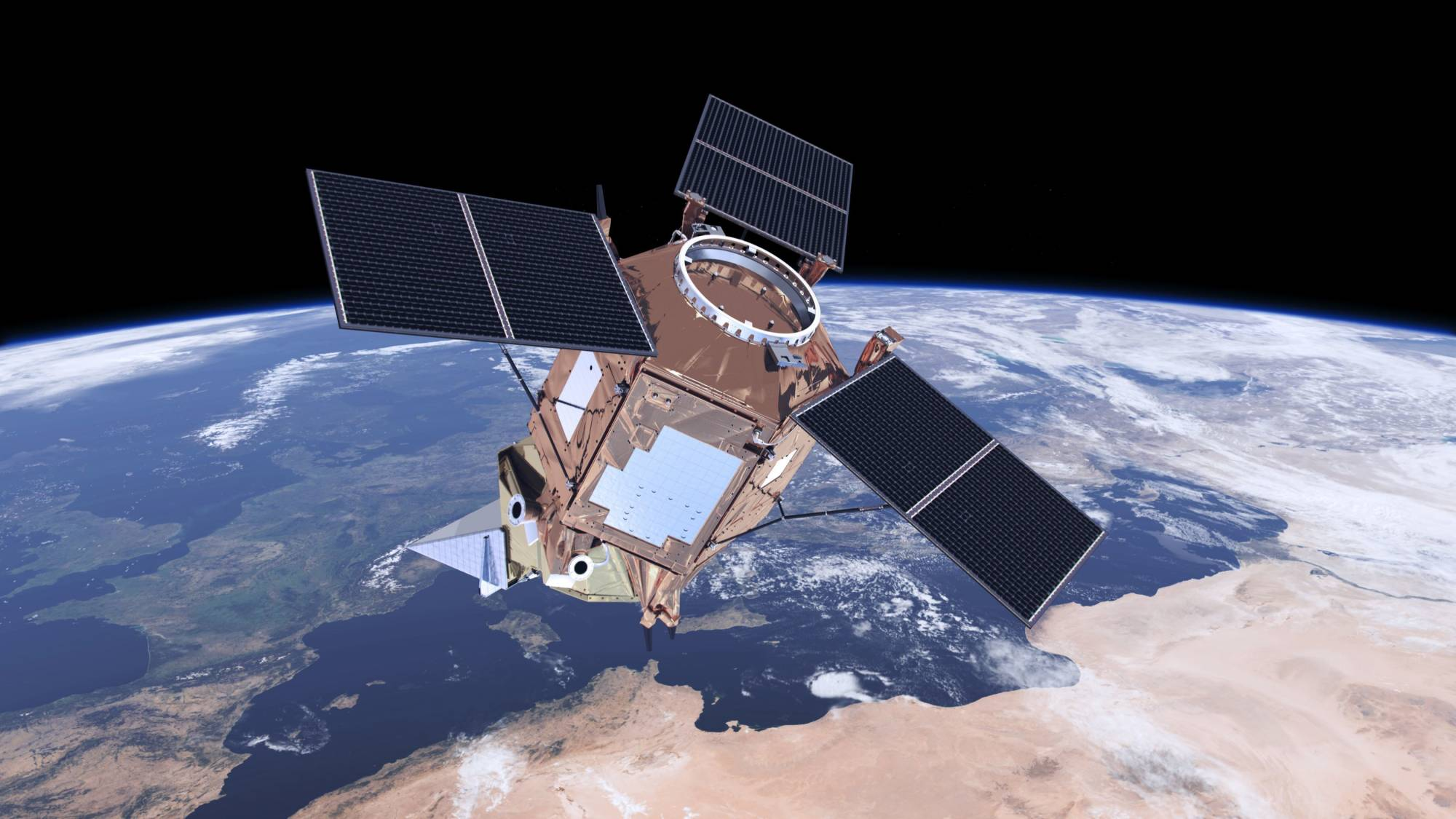 The undated artist rendering provided by ESa shows the Sentinel-5P satellite which is the first Copernicus mission dedicated to monitoring our atmosphere. It carries the Tropomi instrument to map a multitude of trace gases and aerosols that affect the air we breathe and our climate. (ESA via AP)