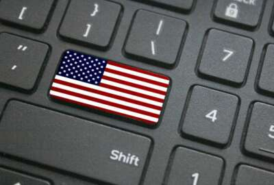 computer, website, federal government  Close up of American flag button on computer keyboard