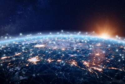 Global world telecommunication network connected around planet Earth, concept about internet and worldwide communication technology for finance, blockchain cryptocurrency or IoT, elements from NASA (images-assets.nasa.gov/image/iss040e090540/iss040e090540~orig.jpg)
