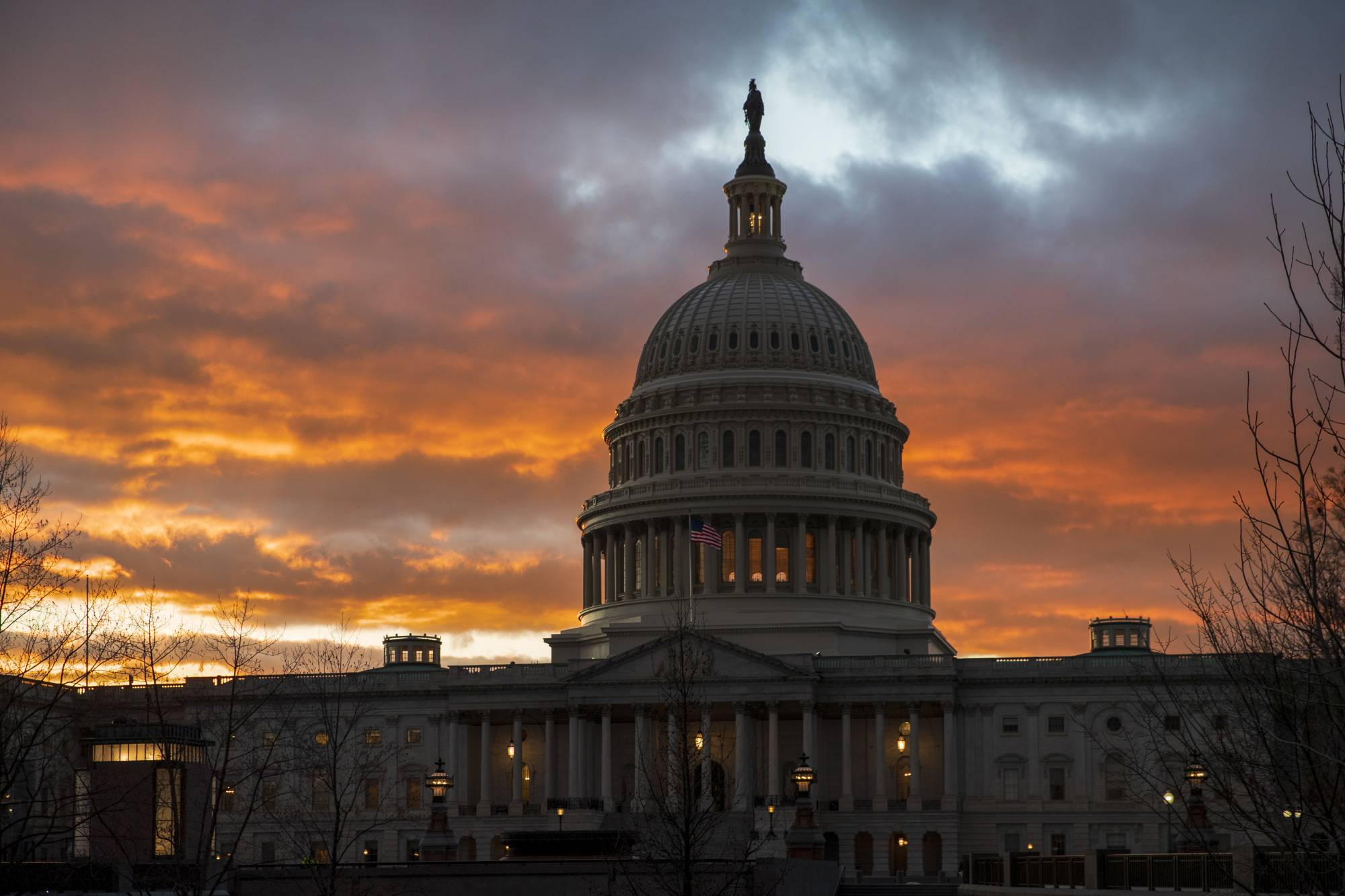 The Capitol iat sunset after the Senate rejected competing Democratic and Republican proposals for ending the partial government shutdown, which is the longest in the nation's history, in Washington, Thursday, Jan. 24, 2019. (AP Photo/J. Scott Applewhite)
