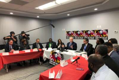 Sen. Chris Van Hollen (D-Md.) addresses a roundtable of federal employees affected by the partial government shutdown Jan. 7, 2019.Sen. Chris Van Hollen (D-Md.) addresses a roundtable of federal employees affected by the partial government shutdown Jan. 7, 2019.
