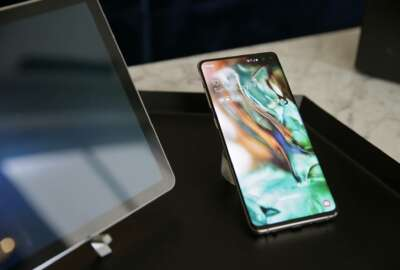 In this Tuesday, Feb. 19, 2019, photo is a Samsung Galaxy S10+ smartphone during a product preview in San Francisco. (AP Photo/Eric Risberg)