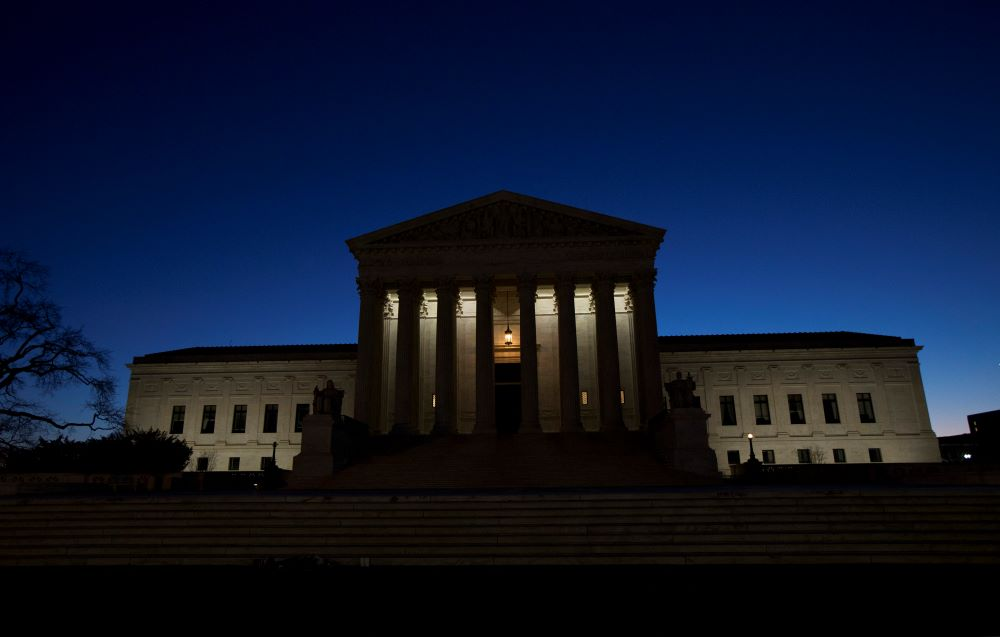 This photo shows the U.S. Supreme Court building in Washington, as the sun rises Sunday, Feb. 14, 2016. Antonin Scalia, the influential conservative and most provocative member of the Supreme Court, has died. He was 79. (AP Photo/Manuel Balce Ceneta)