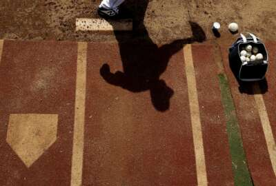San Diego Padres starting pitcher Jacob Nix throws throws in the bullpen before a spring training baseball game against the Chicago White Sox, Sunday, Feb. 24, 2019, in Peoria, Ariz. (AP Photo/Charlie Riedel)