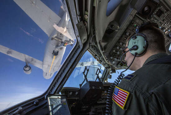 Capt. Thomas Beltz, C-17 Globemaster III pilot with the 514th Air Mobility Wing, closes in to refuel with a KC-10 Extender over the Atlantic Ocean, Feb. 10, 2018. The 514th AMW is an Air Force Reserve Command unit located at Joint Base McGuire-Dix-Lakehurst, N.J..