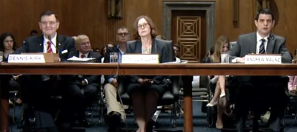 From left, Dennis Kirk, Julia Clark and Andrew Maunz Merit Systems Protection board nominees Senate hearing
