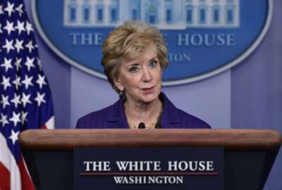 Small Business Administrator Linda McMahon speaks during a briefing at the White House in Washington, Wednesday, Oct. 3, 2018. President Donald Trump gave his quarterly White House salary to the Small Business Administion. (AP Photo/Susan Walsh)