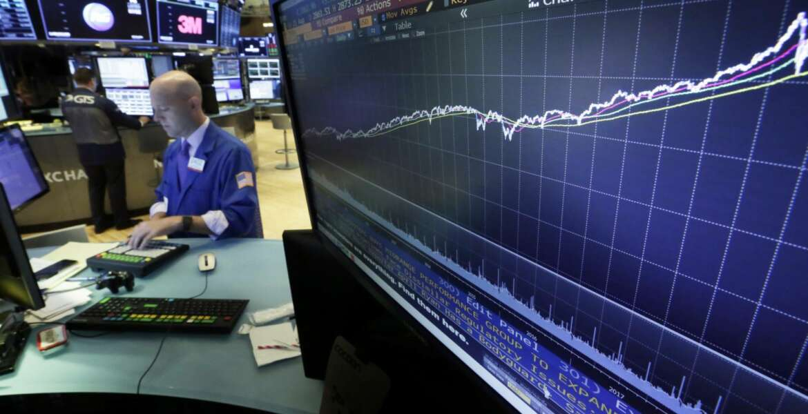 FILE- In this Aug. 22, 2018, file photo a chart on a screen on the floor of the New York Stock Exchange shows the rise of the S&P 500 index since 2009. The bull market for U.S. stocks is now 10 years old and the longest since World War II. That lifespan speaks to financial markets' resiliency in the face of a variety of shocks. (AP Photo/Richard Drew, File)