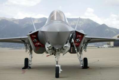 FILE - In this Sept. 2, 2015, file photo, an F-35 jet sits on the tarmac at its new operational base at Hill Air Force Base, in northern Utah. (AP Photo/Rick Bowmer, File)