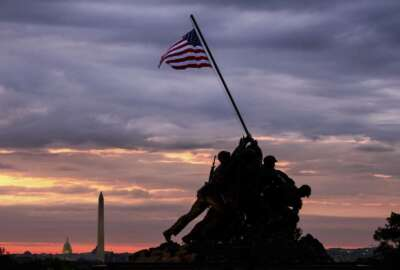 The U.S. Marine Corps War Memorial in Arlington, Va. is silhouetted against daybreak in the Washington, D.C. area Saturday morning May 25, 2019 at the outset of the Memorial Day weekend holiday. (AP Photo/J. David Ake)