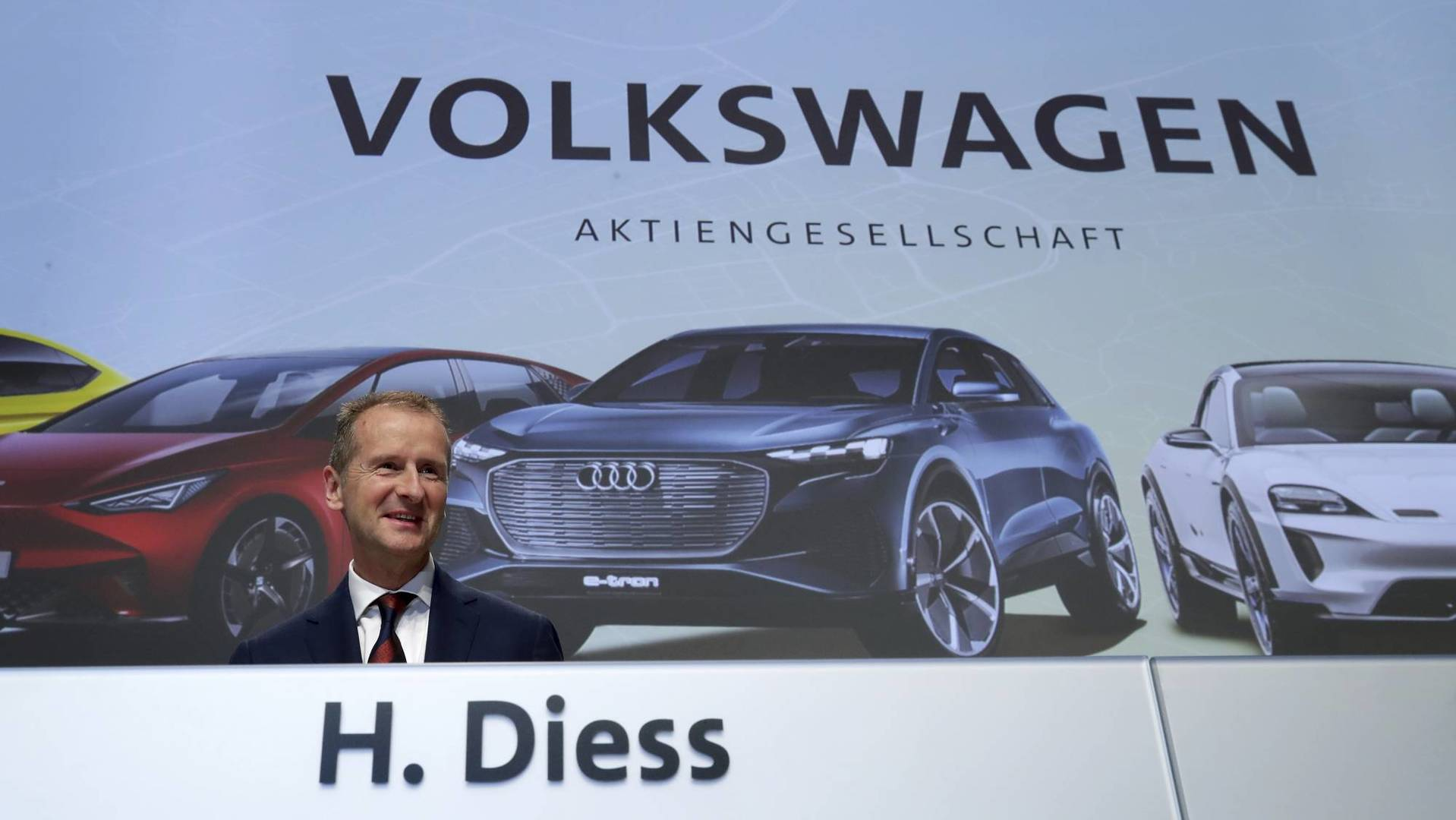 Herbert Diess, CEO of the Volkswagen stock company, arrives for the company's annual general meeting in Berlin, Germany, Tuesday, May 14, 2019. (AP Photo/Michael Sohn)