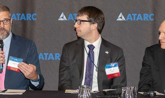 Bill Pratt of DHS (left), Bill Hunt of OMB and Rob Hill of the IRS discuss what agencies need to consider to further create an agile development culture. (Photo courtesy ATARC/ Crouse Powell of Crouse Powell Photography)