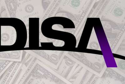Defense Information Systems Agency (DISA) logo over money
