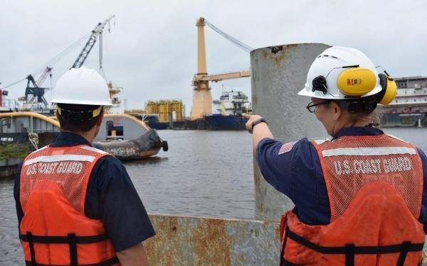 Members from Marine Safety Unit Morgan City inspect waterway facilities near Morgan City, La. on July 14, 2019 as the Coast Guard works to reopen the waterway. Early preparation and communication between federal, state, local, and industry partners helped minimize the potential for damage. U.S. Coast Guard photo by Marine Safety Unit Morgan City.