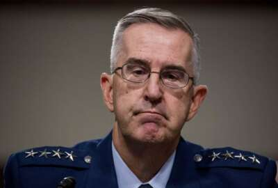 Gen. John Hyten appears before the Senate Armed Services Committee on Capitol Hill in Washington, Tuesday, July 30, 2019, for his confirmation hearing to be Vice Chairman of the Joint Chiefs of Staff. (AP Photo/Andrew Harnik)