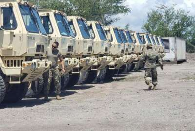 Puerto Rico National Guard, Hurricane Dorian, trucks, vehicles, soldiers