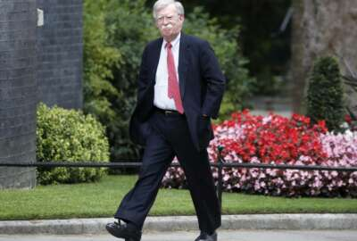 John Bolton, US National Security Advisor, arrives at Downing Street to meet Britain's Chancellor of the Exchequer Sajid Javid in London, Tuesday, Aug. 13, 2019.(AP Photo/Frank Augstein)