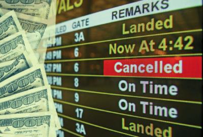 Travel delays, airport, money, dollar bills, flights