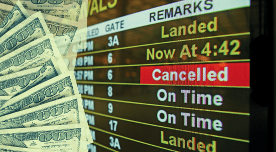Travel delays, airport, money, dollar bills, flights
