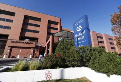 FILE - In this Oct. 4, 2017 file photo, the exterior of the Veterans Affairs Department hospital is shown in east Denver. Investigators with the VA Office of Inspector General found that the hospital violated policy by keeping improper wait lists to track veterans' mental health care, confirming a whistleblower's claims. (AP Photo/David Zalubowski, File)