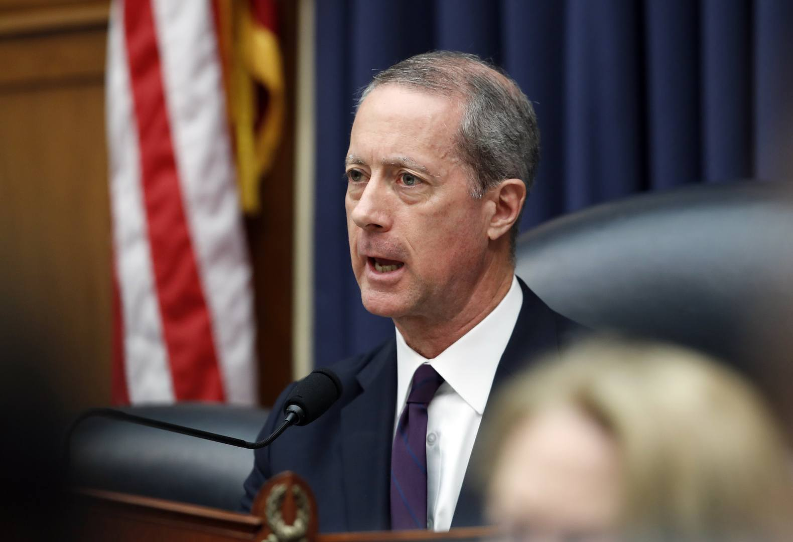 House Armed Services Committee Chairman Mac Thornberry, R-Texas, speaks during a hearing on the FY2019 budget with Defense Secretary Jim Mattis, Joint Chiefs Chairman Gen. Joseph Dunford, and Under Secretary of Defense (Comptroller) and Chief Financial Officer David L. Norquist, on Capitol Hill, Thursday, April 12, 2018 in Washington. (AP Photo/Alex Brandon)