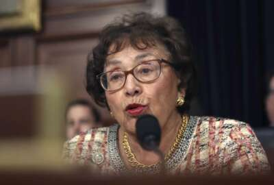 FILE - In this April 9, 2019, file photo, Rep. Nita Lowey, D-N.Y., speaks during a hearing on Capitol Hill in Washington. Democrats controlling the House are proposing a government-wide temporary funding bill to prevent a federal shutdown at month's end and to give the slow-moving Senate time to act on $1.4 trillion worth of spending bills that fill in the details on this summer's bipartisan budget and debt deal. Lowey says the temporary funding bill would likely extend until