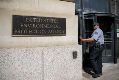 The headquarters of the Environmental Protection Agency in Washington, as President Donald Trump announces that his administration is revoking California's authority to set auto mileage standards stricter than those issued by federal regulators, Wednesday, Sept. 18, 2019. Critics say the move would result in less fuel efficient cars that create more planet-warming pollution. (AP Photo/J. Scott Applewhite)
