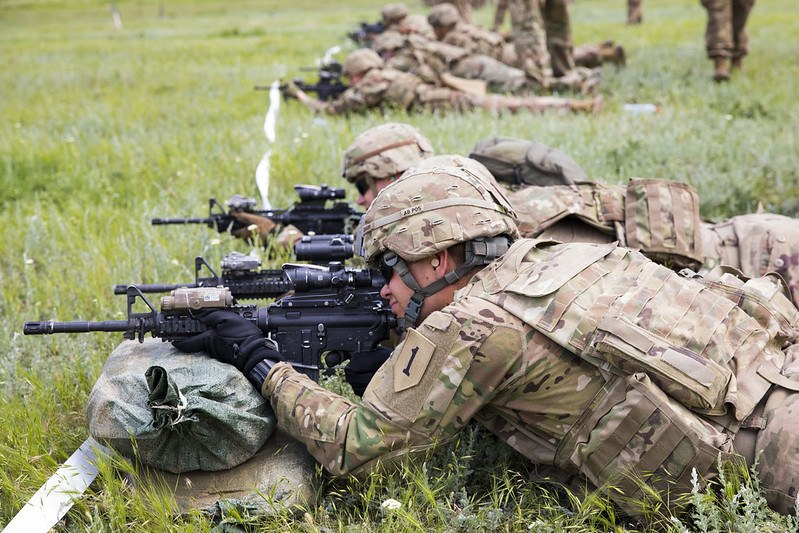 Soldiers with the 1st Battalion, 16th Infantry Regiment, 1st Armored Brigade Combat Team, 1st Infantry Division confirm the zero on their M4A1 carbines during advanced rifle marksmanship training on a range near Smardan, Romania, June 5, 2019. Advanced marksmanship training helps prepare the Soldiers of the 1-16th Infantry to be a lethal asset to NATO allies in support of Atlantic Resolve. (U.S. Army photo by Sgt. Jeremiah Woods)