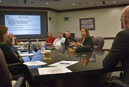 Jaclyn Smyth, Federal Security and Protection Category Manager for the Department of Homeland Security, talks with attendees of the government-wide working dog team kick-off meeting April 16, 2019, at the Air Force Security Forces Center Headquarters on Joint Base San Antonio-Lackland, Texas. Over three days, members of ten federal agencies toured Air Force and DoD Military Working Dog facilities and shared information about their working dog programs - including challenges and best practices - and identified collaboration opportunities.
