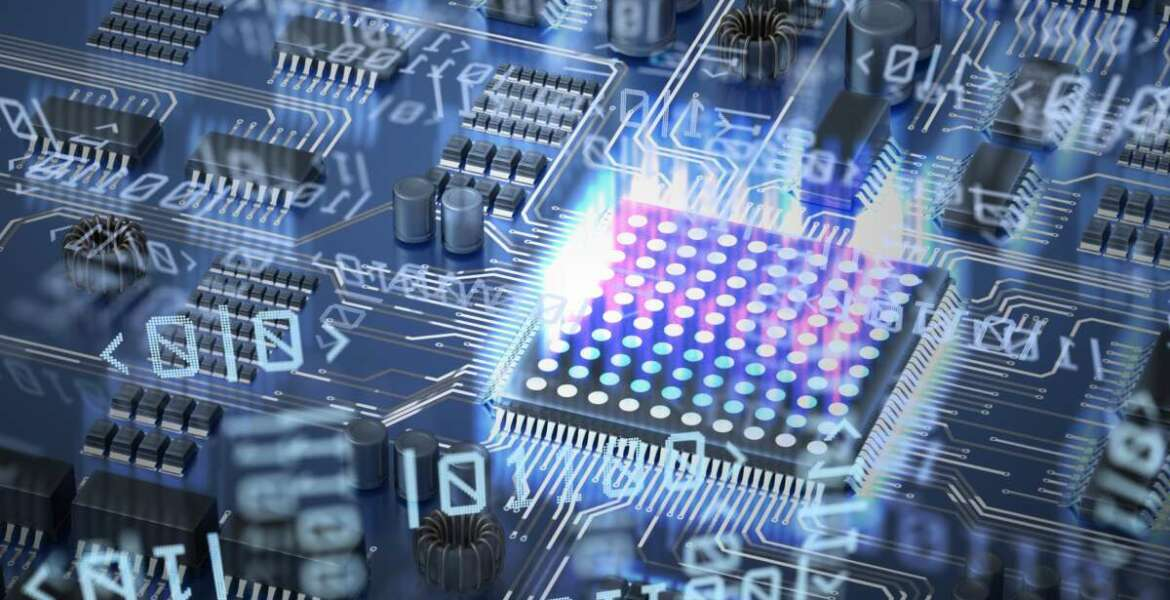 Quantum computing concept. Circuit and qubits in background. 3D rendered illustration.