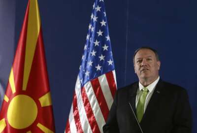 United States Secretary of State Mike Pompeo speaks during a press conference with North Macedonia's Prime Minister Zoran Zaev in Lake Ohrid, southern North Macedonia, Friday, Oct. 4, 2019. Pompeo is visiting southeastern European countries to show support for new NATO members in the region. (AP Photo/Boris Grdanoski)