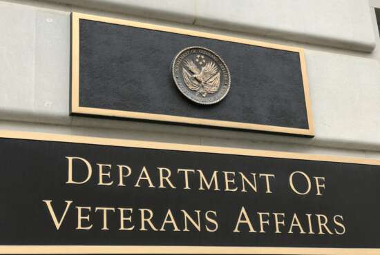 Washington DC/USA Mar 25 2019/Signboard of United States Department of Veterans Affairs(VA).The VA stands in front of Lafayette Square Park in the north of the White House.