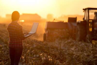 Young woman with laptop standing on field  in sunset and looking at tractor baling