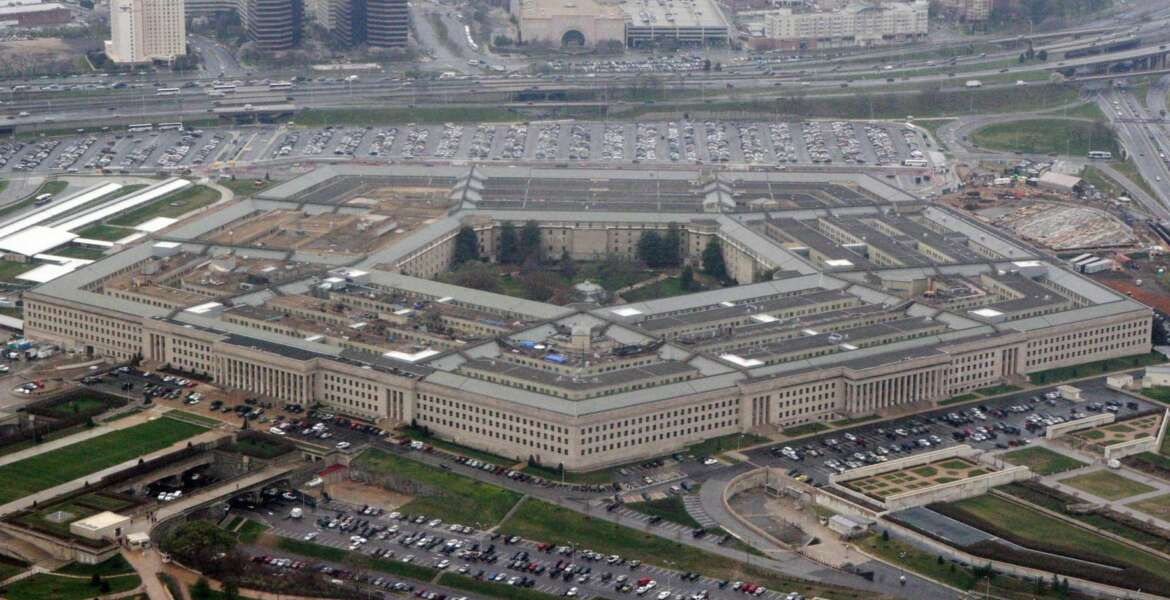 FILE - In this March 27, 2008 file photo, an aerial view of the Pentagon is seen in Washington. Amazon must decide soon if it will protest the Pentagon's awarding of a $10 billion cloud computing contract to rival Microsoft on Oct. 25, 2019, with one possible grievance being the unusual attention given to the project by President Donald Trump. (AP Photo/Charles Dharapak, File)