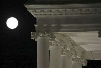 The moon rises over the North Portico of the White House in Tuesday, Nov. 12, 2019, in Washington. With the bang of a gavel, House Intelligence Committee Chairman Adam Schiff will open the hearings into President Donald Trump's pressure on Ukraine to investigate Democratic rival Joe Biden's family. (AP Photo/Steve Helber)
