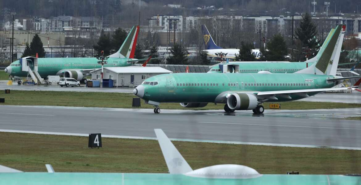 A Boeing 737 Max airplane being built for Norwegian Air International taxis for a test flight, Wednesday, Dec. 11, 2019, at Renton Municipal Airport in Renton, Wash. The chairman of the House Transportation Committee said Wednesday that an FAA analysis of the 737 Max performed after a fatal crash in 2018 predicted