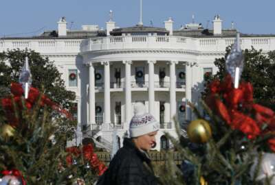Visitors look over holiday decorations in front of the White House Wednesday, Dec. 18, 2019 in Washington. President Donald Trump is on the cusp of being impeached by the House, with a historic debate set Wednesday on charges that he abused his power and obstructed Congress ahead of votes that will leave a defining mark on his tenure at the White House.(AP Photo/Steve Helber)