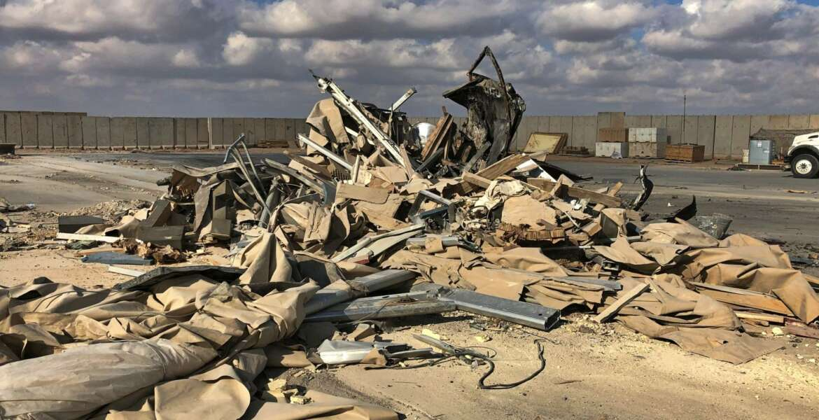 Rubble and debris are seen at Ain al-Asad air base in Anbar, Iraq, Monday, Jan. 13, 2020. Ain al-Asad air base was struck by a barrage of Iranian missiles on Wednesday, in retaliation for the U.S. drone strike that killed atop Iranian commander, Gen. Qassem Soleimani, whose killing raised fears of a wider war in the Middle East. (AP Photo/Qassim Abdul-Zahra)