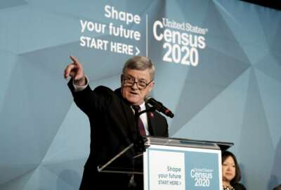 U.S. Census Bureau Director Steven Dillingham unveils its national advertising and outreach campaign for the 2020 Census, at the Arena Stage, Tuesday, Jan. 14, 2020, in Washington. (AP Photo/Michael A. McCoy)