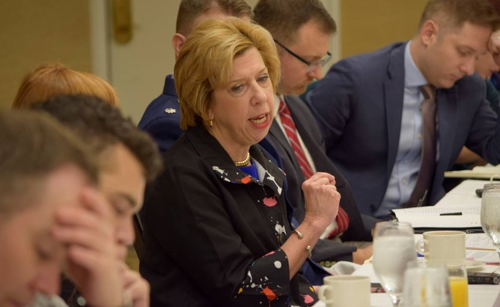 Acquisition and Sustainment Undersecretary Ellen Lord at a Defense Writers Group event in Washington D.C.