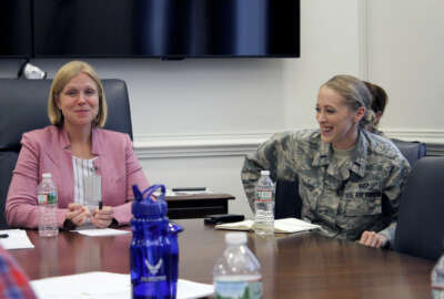 (From left to right) Lauren Knausenberger, director of Cyberspace Innovation, and 1st Lt. Jessica Farris, program manager and engineer, Lifecycle Management Center, Agile Combat Systems Directorate, participate in a women in technology panel during the Air Force Conference, also known as AFCON, at the Pentagon, July 19. AFCON is a one-day immersion into Air Force technology, culture and operations designed for long-form storytellers who typically do not cover the military.
