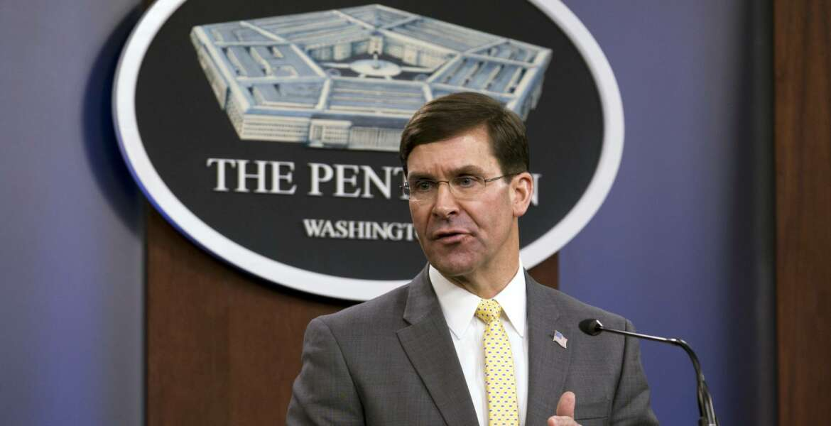 FILE - In this Jan. 27, 2020 file photo, Secretary of Defense Mark Esper speaks during a news conference at the Pentagon in Washington.  Esper said Tuesday he is looking to NATO allies for more help countering the Islamic State extremist group in Iraq and in bolstering U.S. defense efforts in the Middle East more broadly. (AP Photo/Jose Luis Magana)