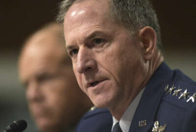 Air Force Chief of Staff Gen. David Goldfein, right, sitting next to Marine Corps Commandant Gen. Robert B. Neller, testifies on Capitol Hill in Washington, Thursday, Sept. 15, 2016, before the Senate Armed Services Committee hearing on long-term budgetary challenges. (AP Photo/Susan Walsh)