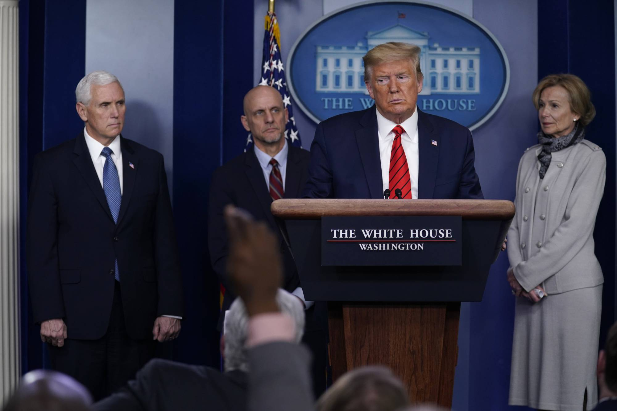 President Donald Trump takes questions during press briefing with the coronavirus task force, at the White House, Thursday, March 19, 2020, in Washington. (AP Photo/Evan Vucci)