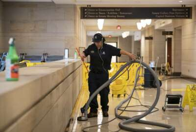 With the Capitol shut down to tourists, a workman performs a routine cleaning of surfaces in the Capitol Visitor Center, early Friday, March 13, 2020, in Washington. (AP Photo/J. Scott Applewhite)