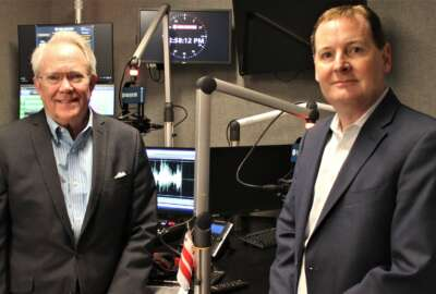Kevin Plexico, right, senior vice president of information solutions at Deltek, with John Thomas Flynn on Ask the CIO: SLED Edition