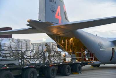 In this Tuesday, April 7, 2020 photo provided by the U.S. Air National Guard, airmen from the 146th Airlift Wing of the California Air National Guard in Oxnard, Calif., deliver 200 ventilators to the New York Air National Guard's 105th Airlift wing at Stewart Air National Guard Base, adjacent to Newburgh, N.Y. (Senior Airman Jonathan Lane/U.S. Air National Guard via AP)